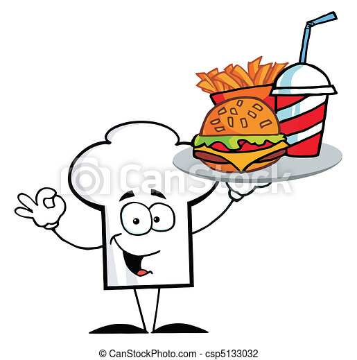 Chef Hat Guy Serving Fast Food - csp5133032
