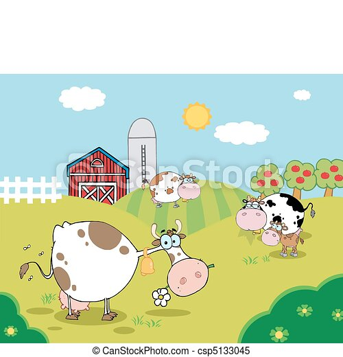 Country Farm Scene With Cows - csp5133045