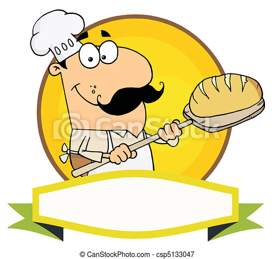 Caucasian Baker Holding Bread  - csp5133047
