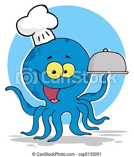 Octopus Chef Serving Food - csp5133051