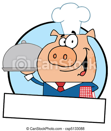 Pig Serving Food On A Platter - csp5133088