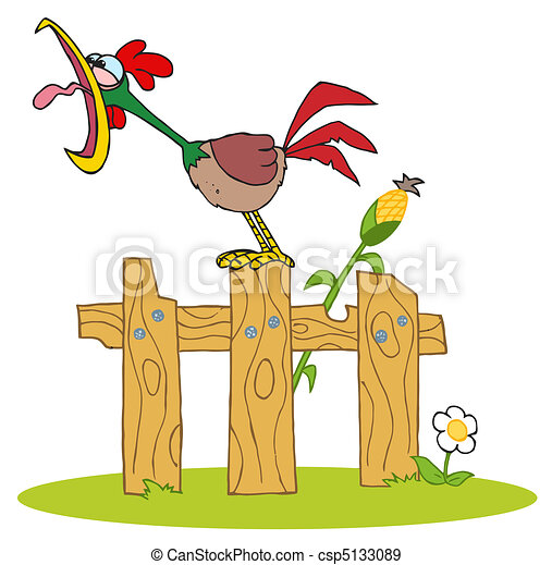 Rooster Crowing On A Wood Fence - csp5133089
