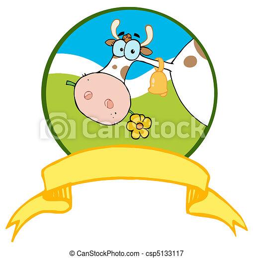 Cartoon Logo Mascot-Farm Cow - csp5133117