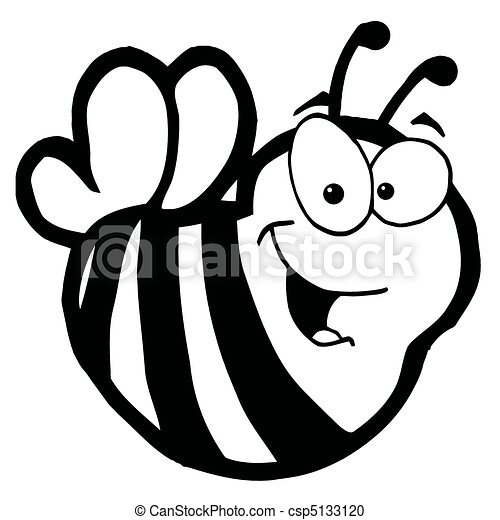 Black And White Smiling Bee - csp5133120