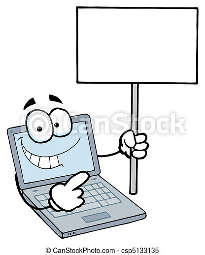 Laptop Guy Holding a Blank Sign - csp5133135