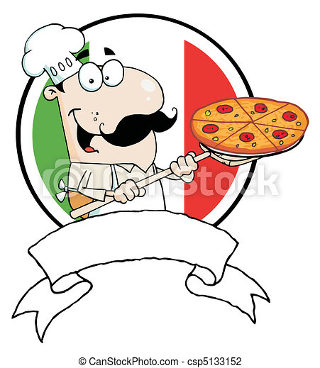 Chef Inserting A Pepperoni Pizza - csp5133152