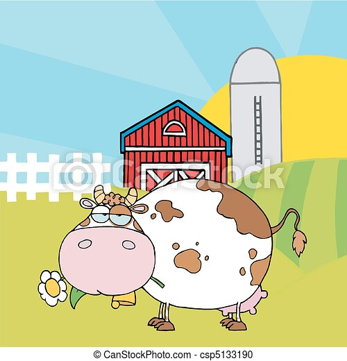 White Cow Eating A Daisy By A Silo  - csp5133190