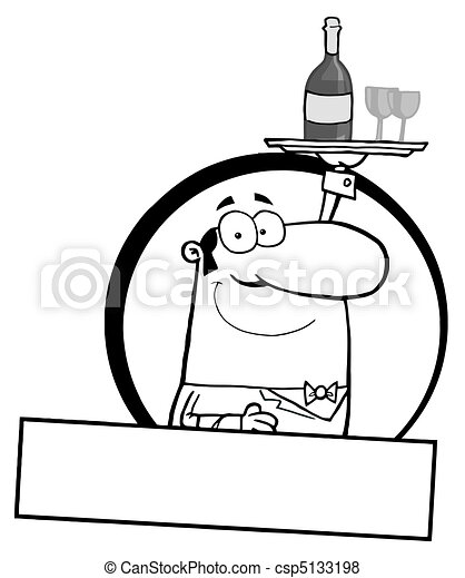 Waiter Serving Wine Logo - csp5133198
