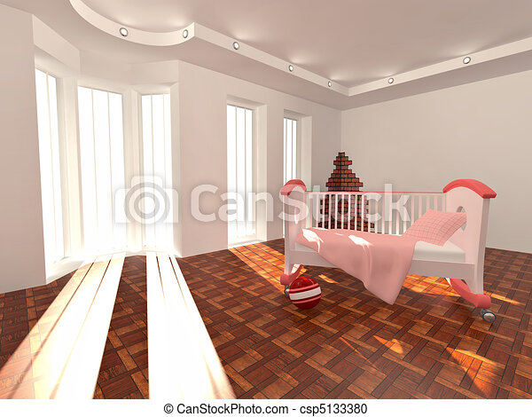 Children's bed in an empty room, lit by sunlight - csp5133380