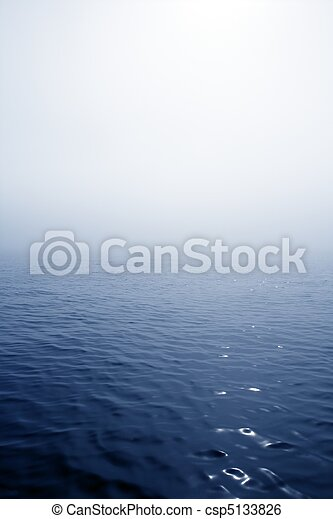 Blue fog sea in a foggy day with low ocean visibility - csp5133826