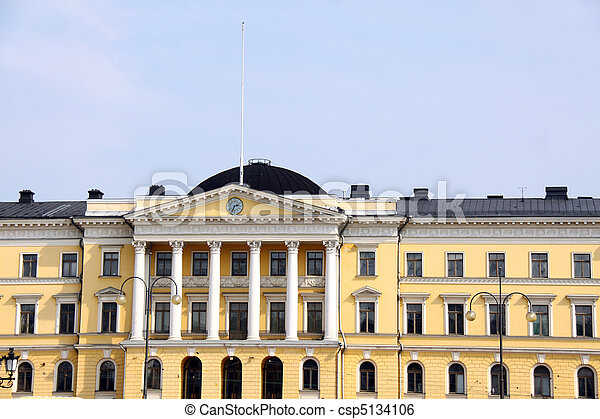 Helsinki. Senate Square and the building of Senate at sunset. Finland EU - csp5134106