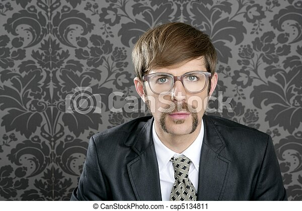 businessman nerd retro glasses  portrait - csp5134811