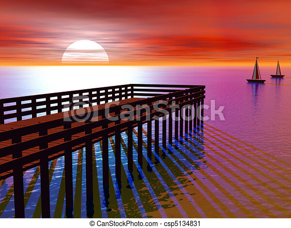 Beach Pier Drawing 3d Rendered Pier at Sunset