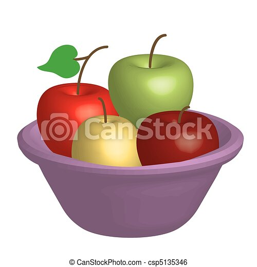 Fruit Bowl Line Drawing 3d Fruit Bowl With Apples