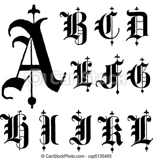 Vector Medieval Gothic Font a-l - csp5135493