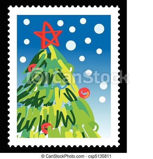 vektor clip art von briefmarke weihnachten weihnachten briefmarke mit csp5135811
