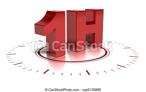 1H written in 3d over a clock symbol - text words are red and the background is white there is blurred reflection - csp5135899