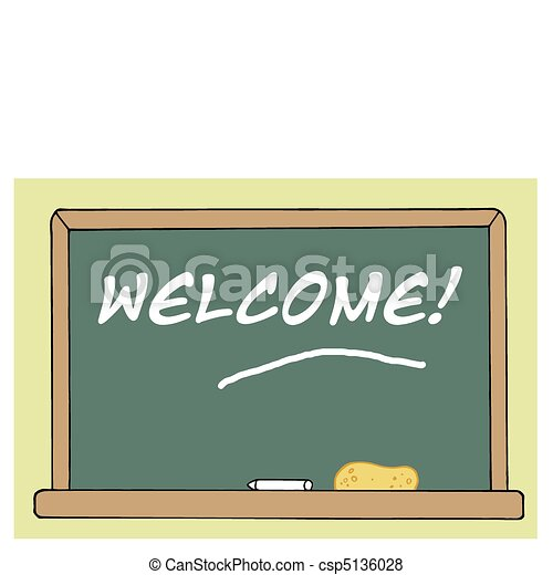 Welcome Chalkboard In A Class Room - csp5136028