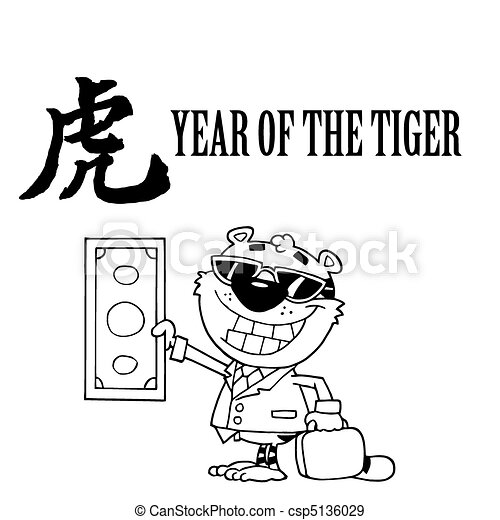 Outlined Wealthy Tiger Holding Cash - csp5136029
