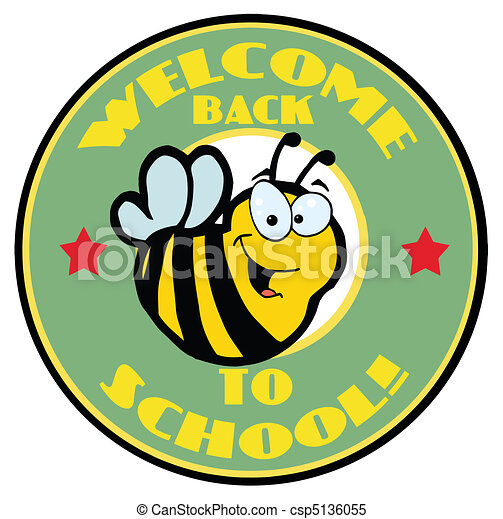 Green Welcome Back To School Bee  - csp5136055