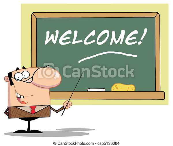 Teacher Pointing To A Welcome  - csp5136084