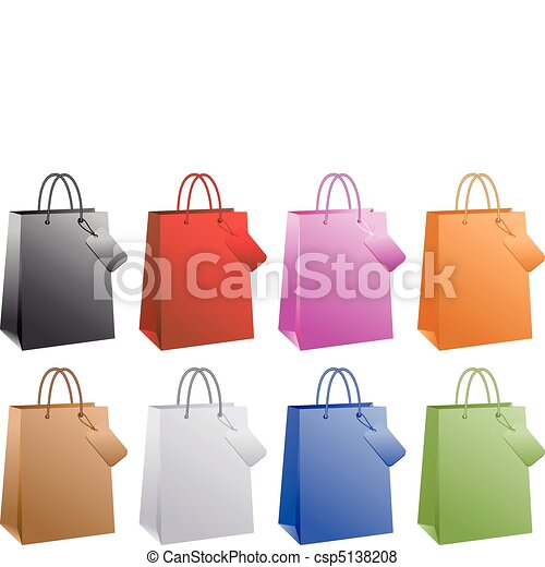 colorful shopping bags, vector - csp5138208