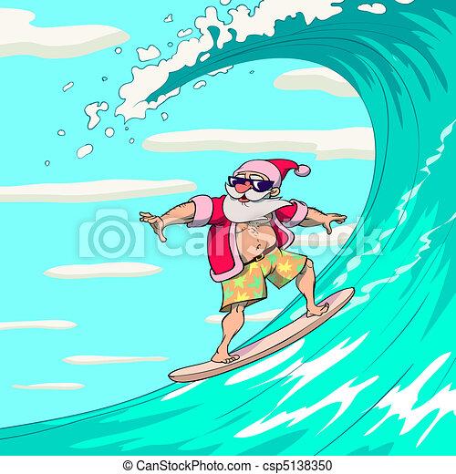 Surfing Santa Claus - csp5138350