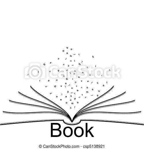 Open Book Line Drawing Vector Clip Art...