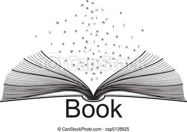 Open Book Line Drawing Clipart Vector of book...