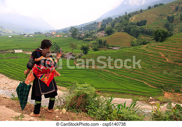Sapa hill tribe woman and baby - csp5140738