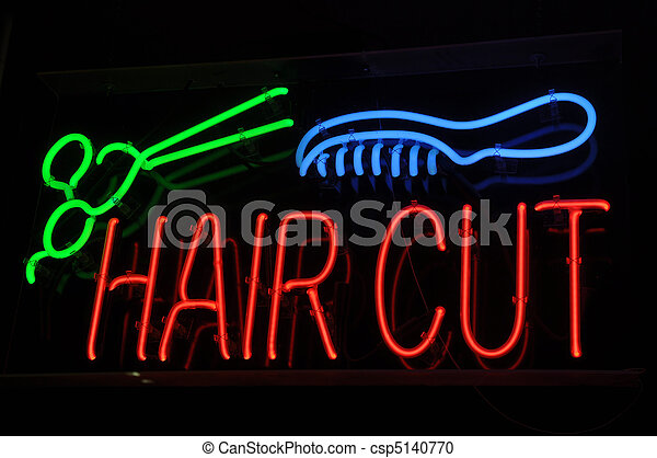 Haircut Neon Sign with Scissors and Comb - csp5140770