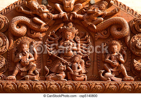 Hindu Gods carved on wood - csp5140800