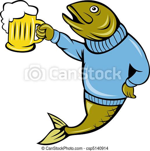 cartoon Trout fish beer mug - csp5140914