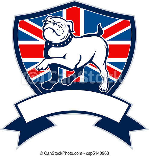 Proud English bulldog british flag - csp5140963
