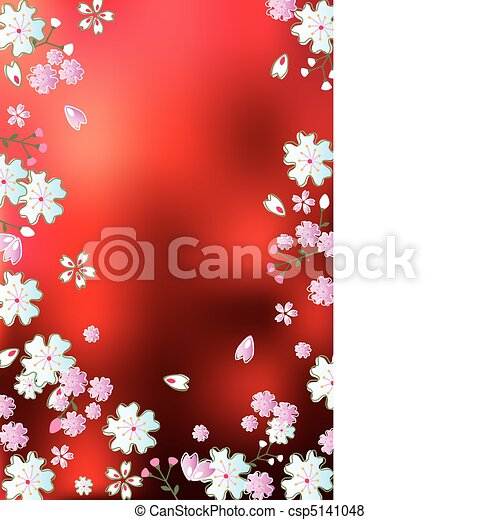 Abstract red blossoms background - csp5141048
