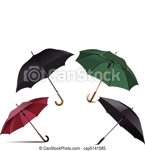 Four types of opened rain umbrella - csp5141585
