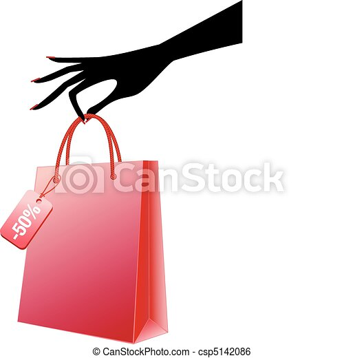 hand with red shopping bag, vector - csp5142086