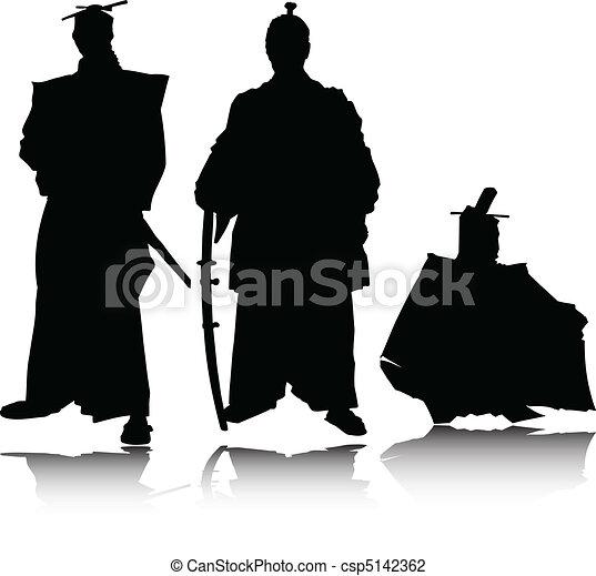 samurai vector silhouettes - csp5142362