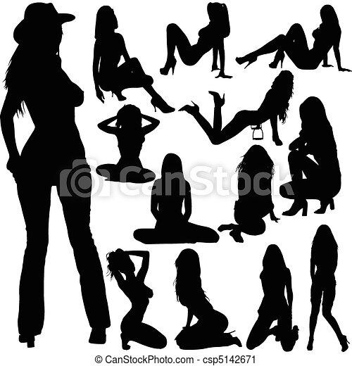 sexy babes vector silhouettes - csp5142671