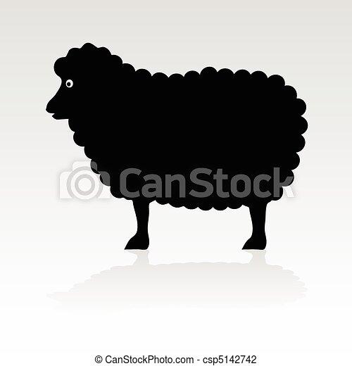 sheep black vector silhouette - csp5142742
