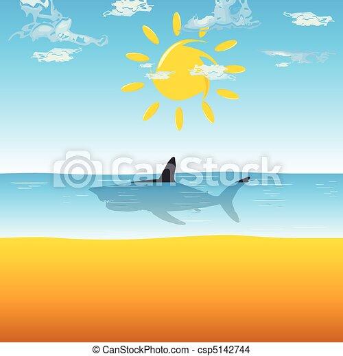 shark in ocean illustration - csp5142744