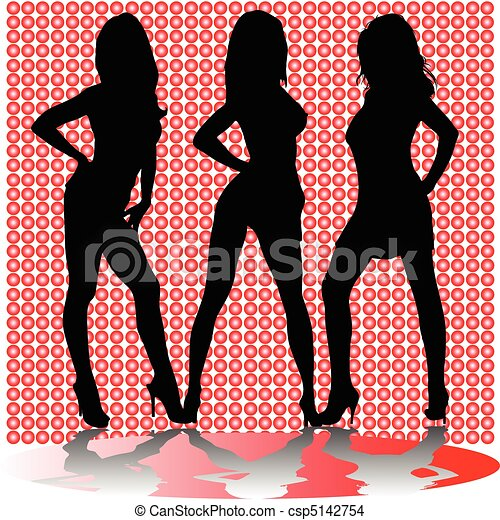 sexy three girl shadow vector silho - csp5142754