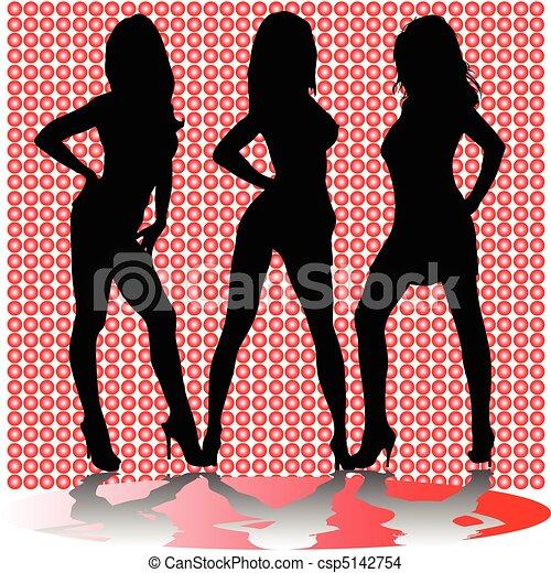sexy three girl shadow vector silho - csp5142754