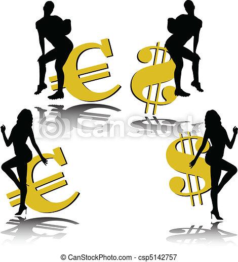 sexy two girl euro and dollar illus - csp5142757
