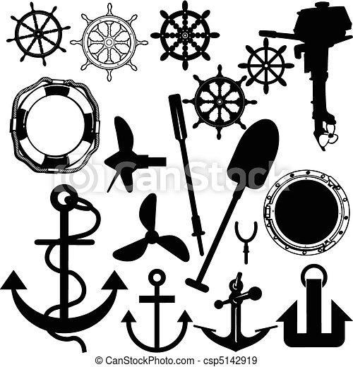 ship stuff vector silhouettes - csp5142919