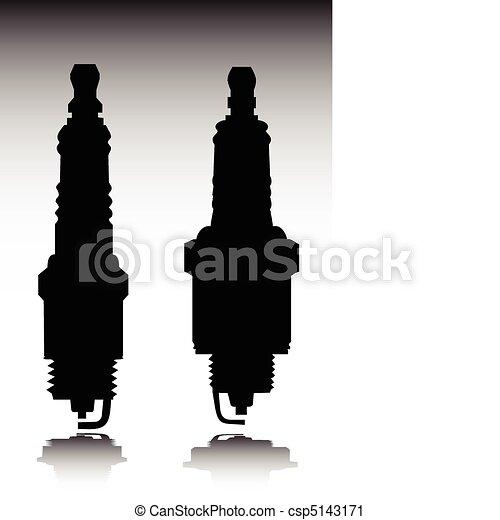 spark plug vector silhouettes - csp5143171