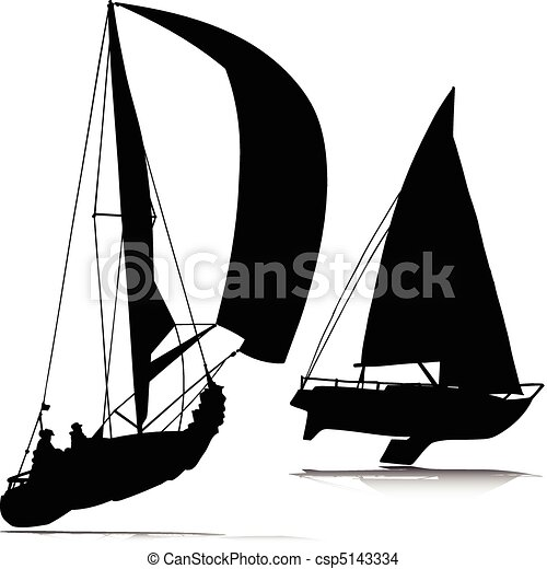 EPS Vector of sport boat vector silhouettes csp5143334 - Search Clip ...