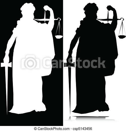 statue of justice vector silhouette - csp5143456
