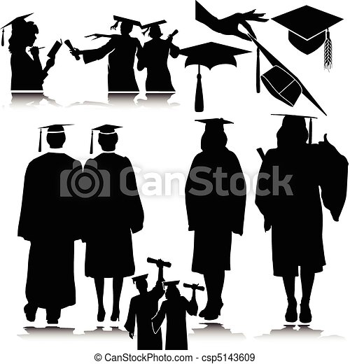 students vector silhouettes - csp5143609