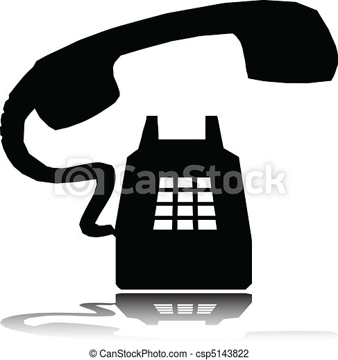 telephone ring vector silhouettes - csp5143822